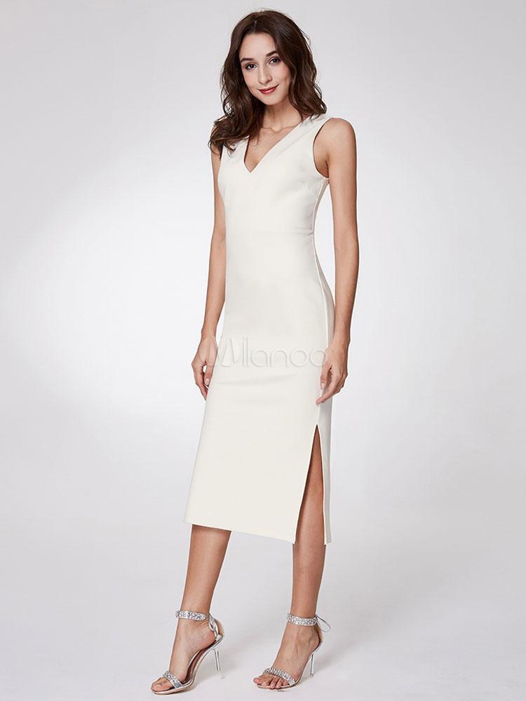 Wedding Guest Dresses White Sheath Cocktail Dress Column V Neck Slit V Back Sleeveless Tea Length Party Dresses
