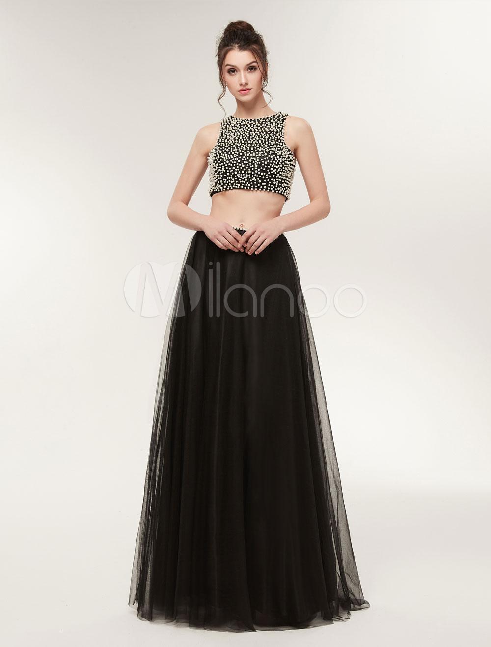 7266f1db9 Vestidos de baile negro largo de dos piezas perlas sin respaldo ...