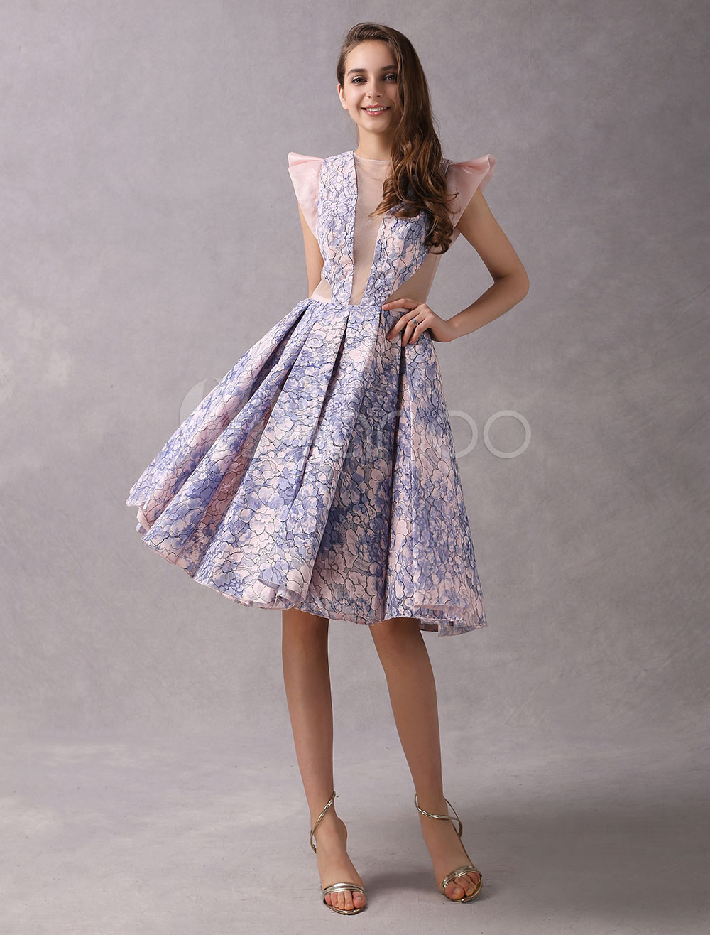 Buy Cocktail Dresses Lace Short Party Dresses Soft Pink Organza Illusion Knee Length Graduation Dress for $178.49 in Milanoo store