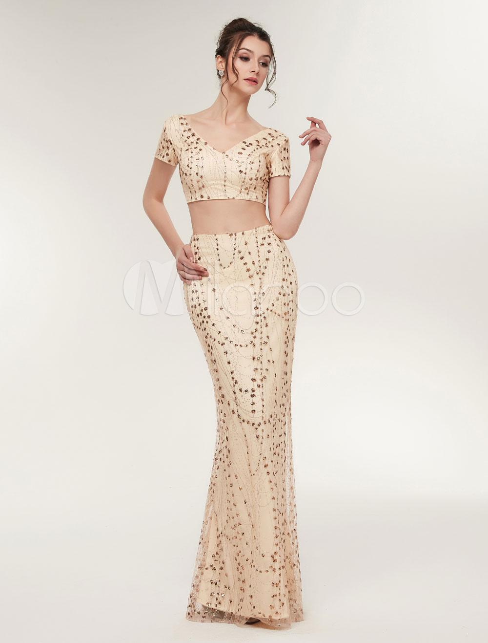 Zwei st ck prom kleider lange pailletten champagner - Kleider milanoo ...