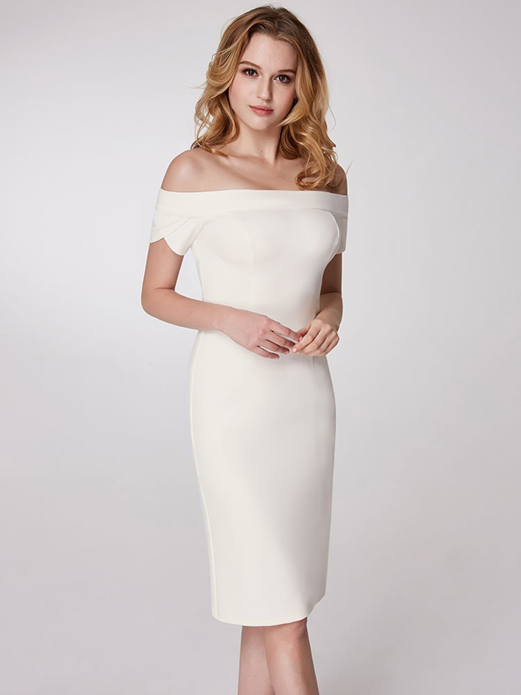 Buy Cocktail Dresses White Column Off The Shoulder Party Dress Sheath Short Wedding Guest Dresses for $101.19 in Milanoo store
