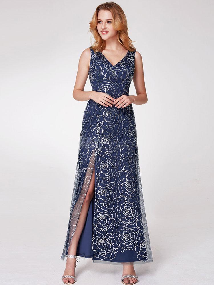 Buy Evening Dresses Sexy High Split V Neck Dark Navy Formal Dress Floor Length Prom Dress for $127.59 in Milanoo store