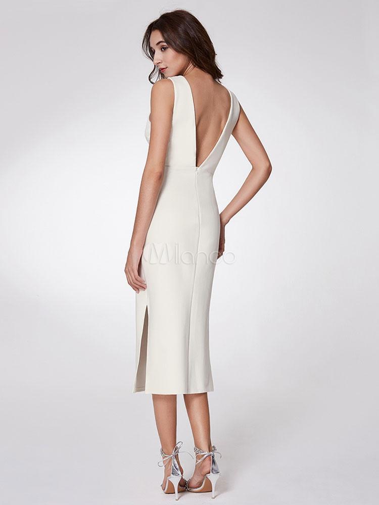 Hochzeitsgast Kleider White Mantel Cocktailkleid Spalte V-Ausschnitt ...