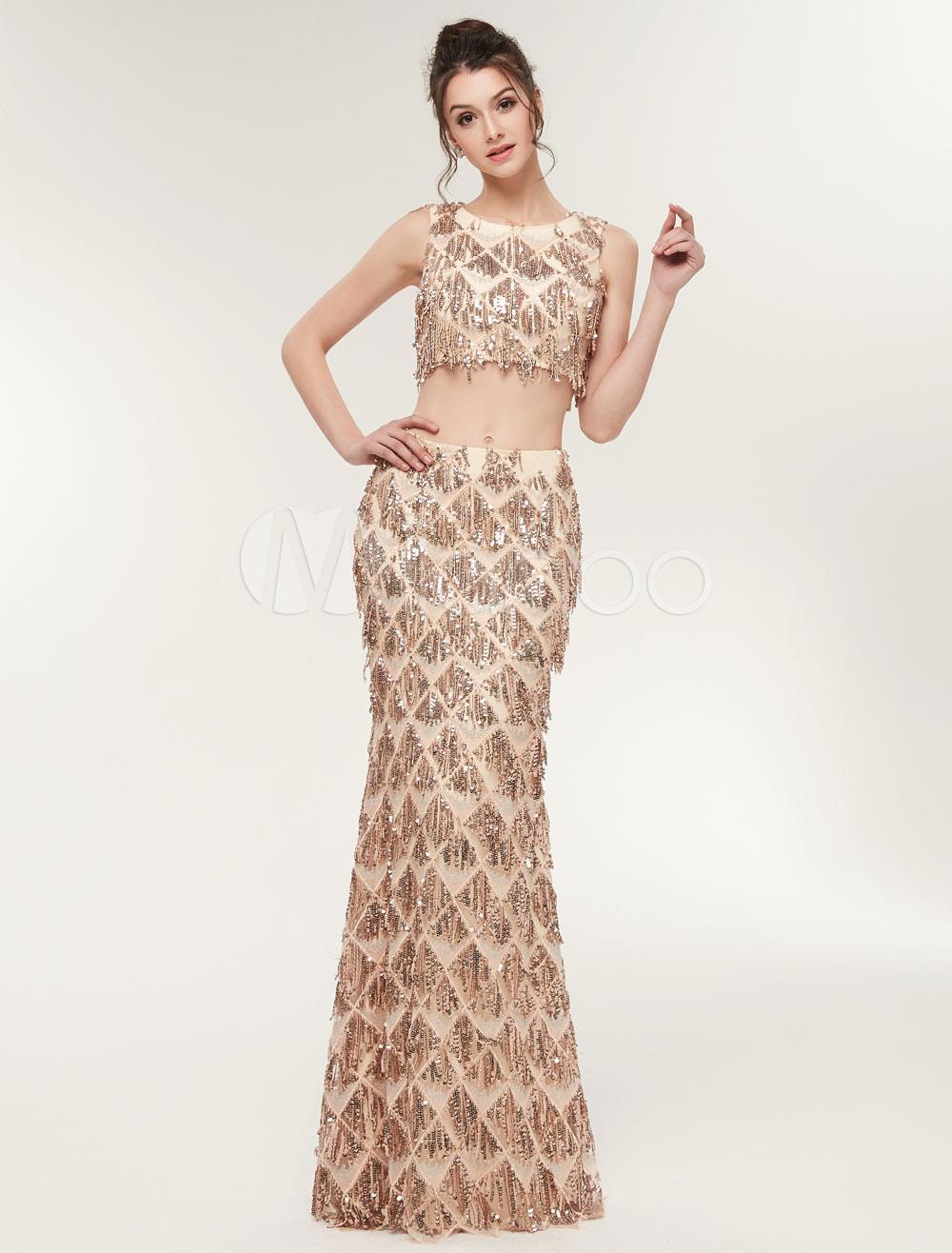 Prom kleider zweiteilige lange pailletten quasten - Kleider milanoo ...