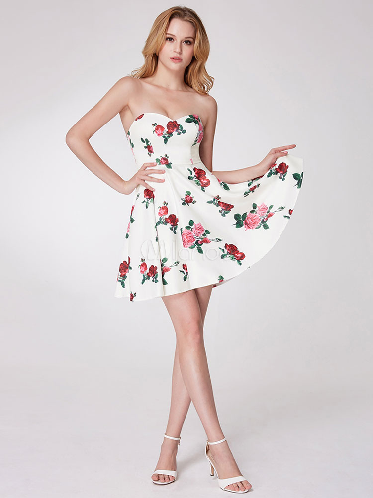 f214c764371a ... Short Prom Dresses White Floral Printed Party Dresses Strapless  Sweetheart Neck Mini Graduation Dress-No ...