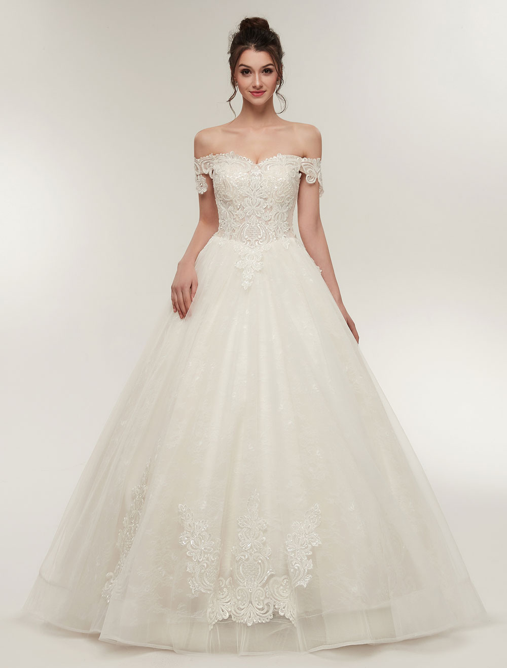 Princess Wedding Dresses Off The Shoulder Ivory Bridal Dresses Lace Applique Tulle Floor Length Ball Gowns