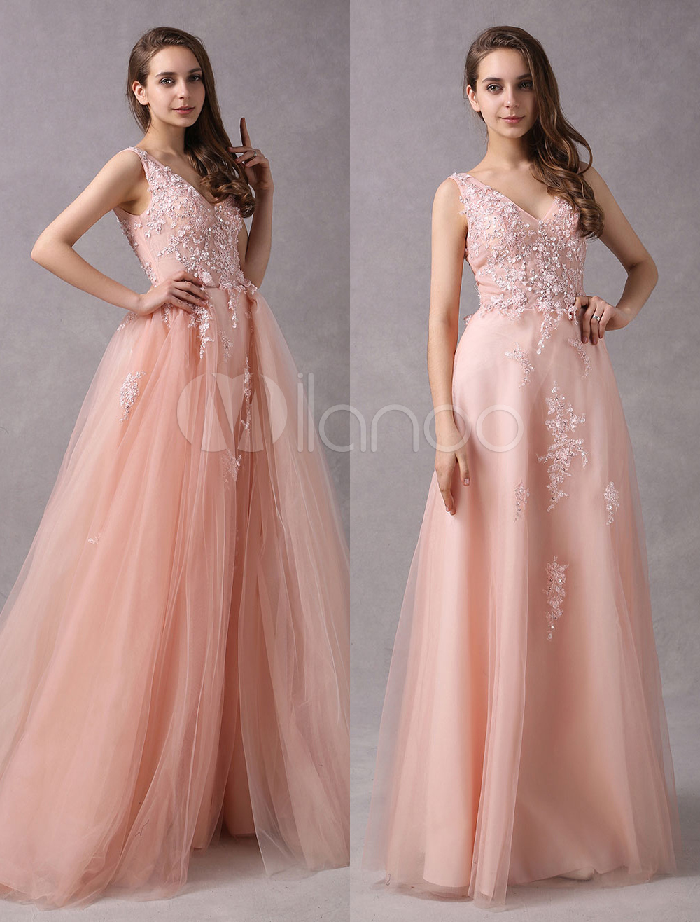 b60bbf02 ... Lace Beading Sleeveless Detachable Train Prom Gowns-No. 12. 45%OFF.  Color:Blush Pink