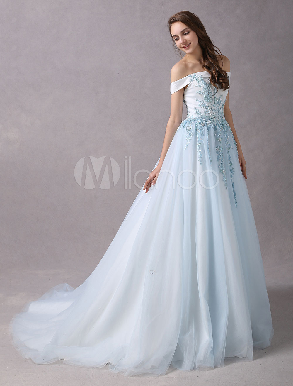 Prom Gown Off The Shoulder Prom Dresses Long Lace Applique Beading Pastel Blue Princess Dresses With Train