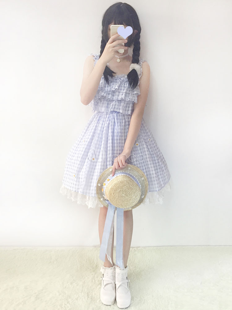 Buy Sweet Lolita Jumper Skirt Daisy Chiffon Plaid Ruffle Light Blue Lolita Jumper Skirt for $38.69 in Milanoo store