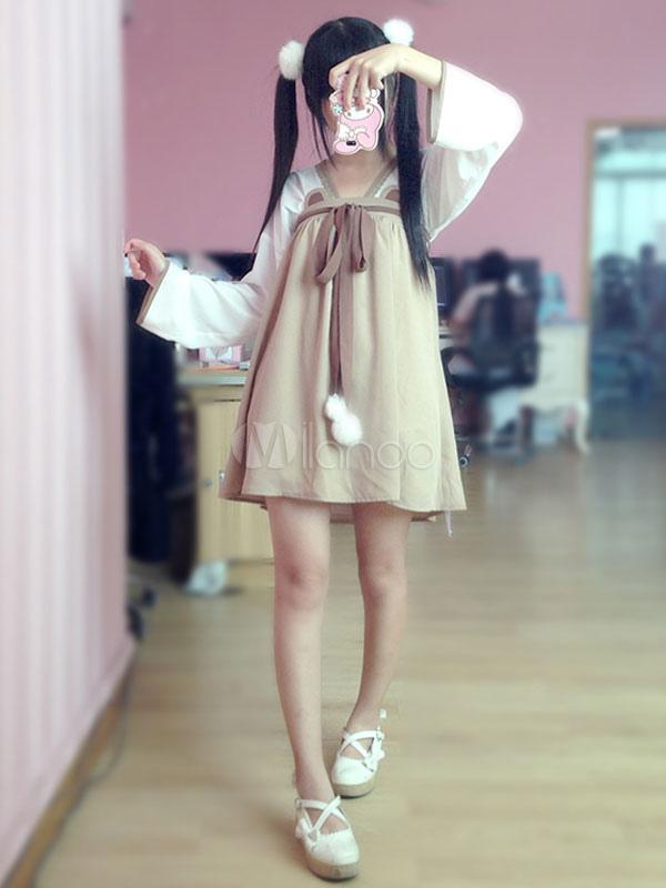 Buy Chinese Style Lolita OP Dress Cute Bear Chiffon Ruffles Bow Pom Pom Light Brown Lolita One Piece Dress for $34.39 in Milanoo store