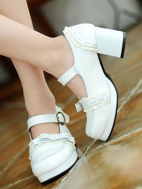 Classic Lolita Footwear Bow Buckle Square Toe Platform Chunky Heel Lolita Shoes