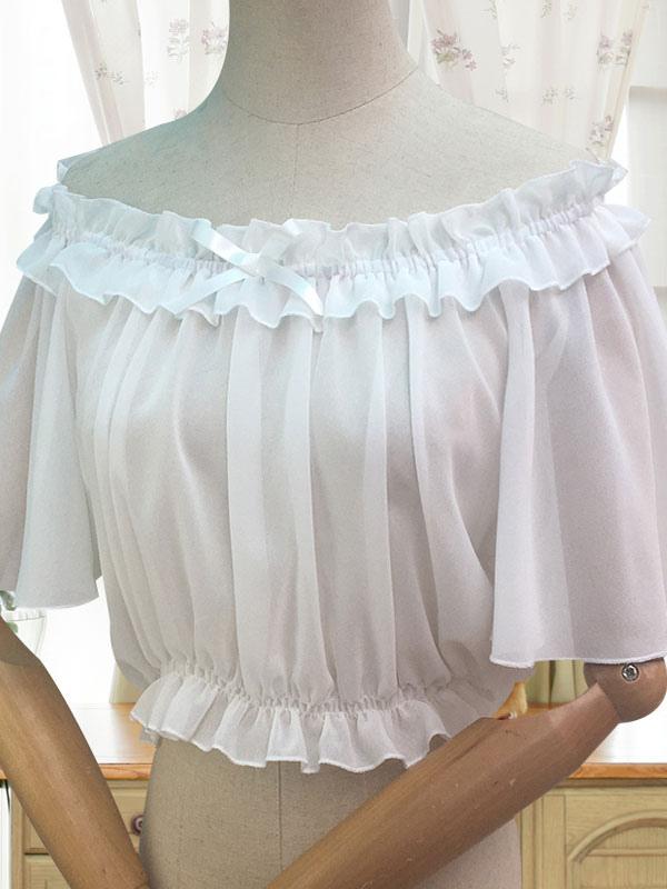 Sweet Lolita Blouse Ruffle Bow White Chiffon Lolita Top