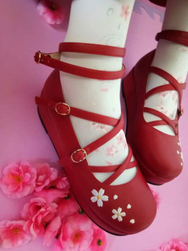 Sweet Lolita Shoes Strappy Floral Jacquard Red Lolita Flatform Shoes
