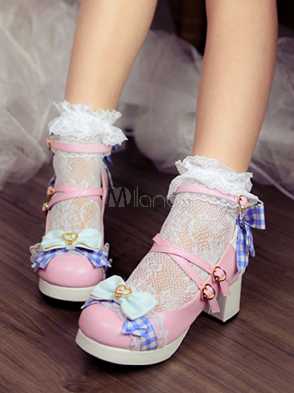 Buy Sweet Lolita Heels Bow Plaid Strappy Platform Chunky Heel Pink Lolita Shoes for $69.29 in Milanoo store
