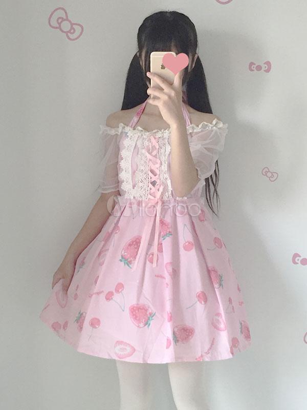 Sweet Lolita JSK Strawberry Print Lace Up Ribbon Soft Pink Lolita Jumper Skirt