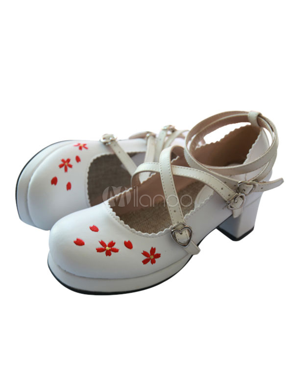 Buy Sweet Lolita Footwear Floral Jacquard Strappy Chunky Heel Platform White Lolita Shoes for $64.79 in Milanoo store