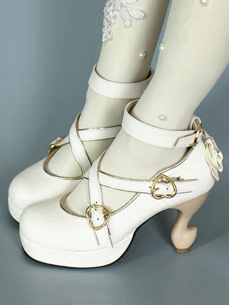 Baroque Lolita Footwear Strappy Metal Buckle Bow Platform Lolita High Heels
