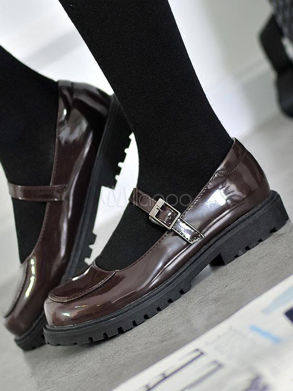 Classic Lolita Shoes Square Toe Buckle Brown Lolita Footwear
