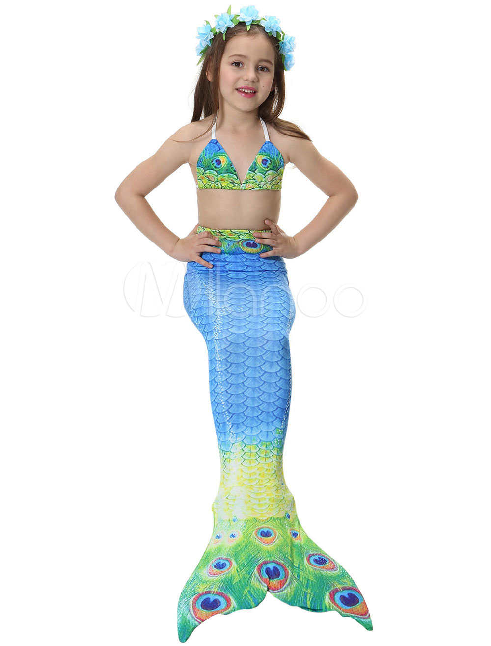 7424090d2d191 Kids Mermaid Tail Costume Little Girls Swimsuits Peacock Printed ...