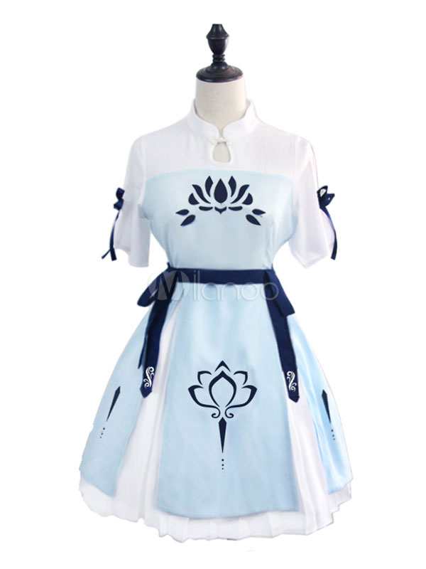 Buy Chinese Style Lolita OP Dress Ribbons Ruffles Print Two Tone Pleated Cotton Lolita One Piece Dress for $69.29 in Milanoo store