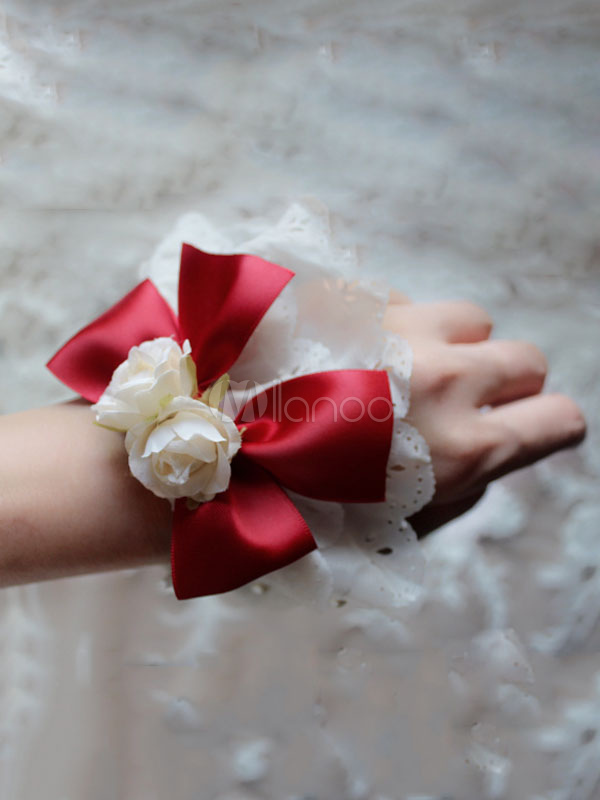 Buy Sweet Lolita Bracelet Flower Bow Cotton Red Lolita Wrist Band for $18.39 in Milanoo store