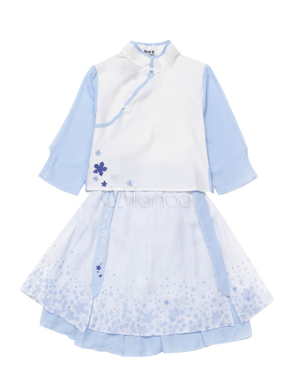 Buy Qi Lolita Outfit Chiffon Baby Blue Print Top Layered Pleated Lolita Skirt for $34.19 in Milanoo store
