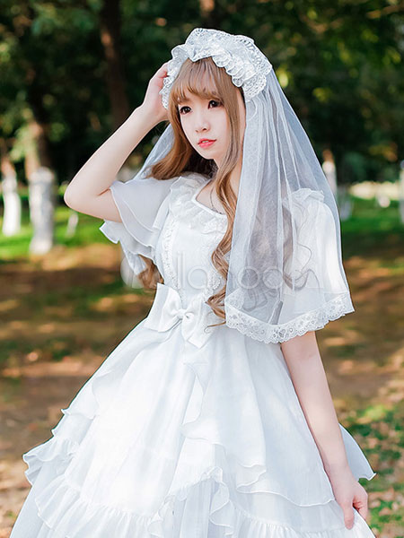 Buy Lolita Wedding Veil Tulle Lace Pleated White Lolita Headdress for $25.59 in Milanoo store