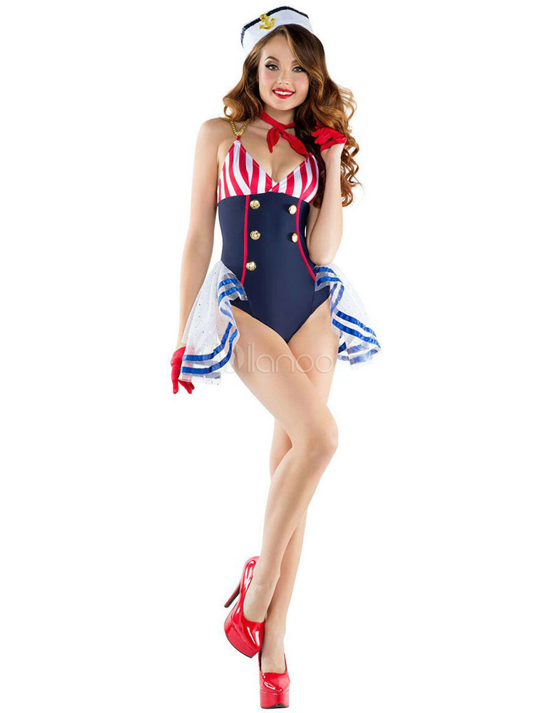 Sexy Navy Costume Halloween Women Striped 3 Pieces Costume Outfit