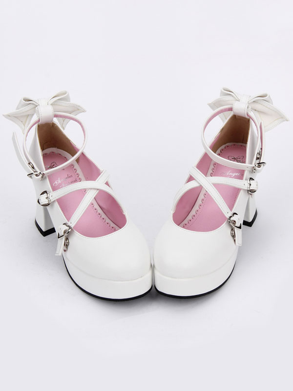 Buy Sweet Lolita Shoes Bow Strappy Round Toe Platform White Lolita Heels for $62.09 in Milanoo store