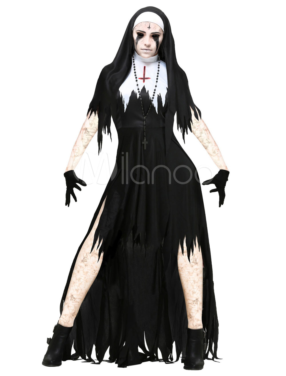 Vampire Costume Halloween  Black Women Dress And Gloves Costume Outfit