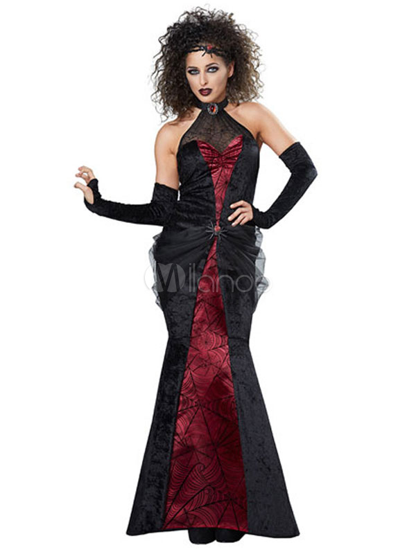 Vampire Costume Halloween  Black Women Printed Dress And Gloves Costume Outfit