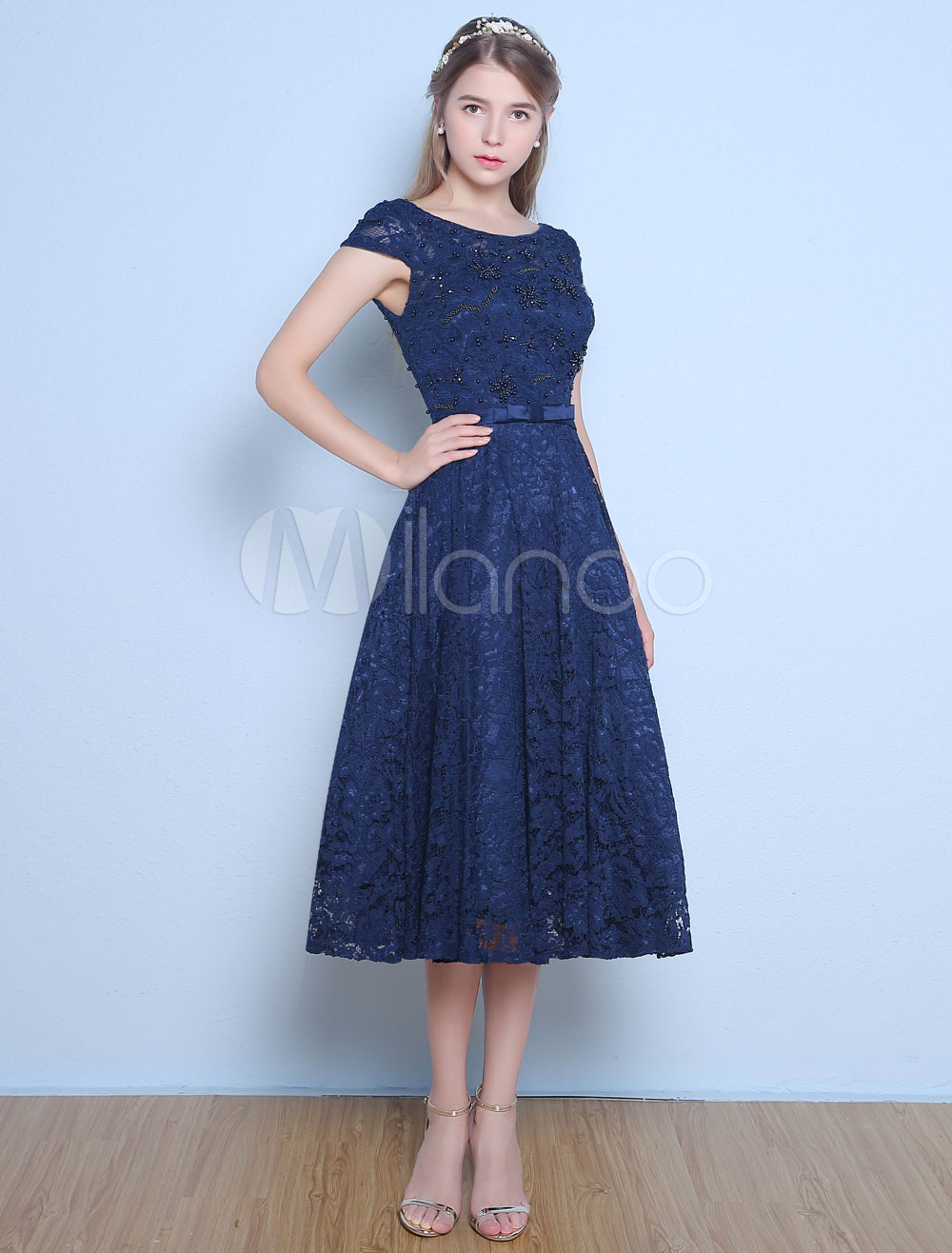 Buy Lace Cocktail Dresses Dark Navy Short Sleeve Prom Dress Beaded Bow Sash Tea Length Graduation Dress for $69.99 in Milanoo store