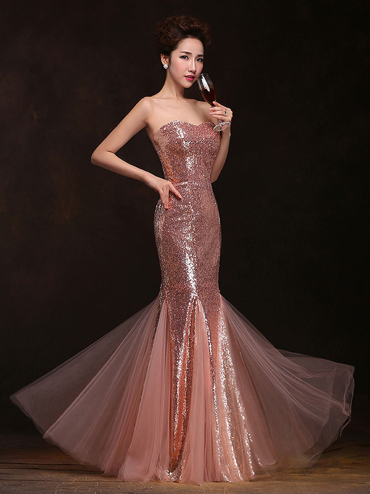 707811f4dfd ... Mermaid Prom Dresses Long Sequin Evening Dress Strapless Cameo Pink Formal  Gowns-No.3 ...