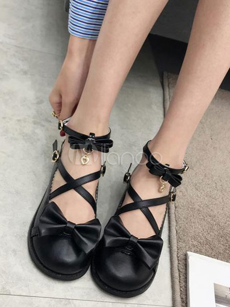 Sweet Lolita Shoes Bow Strappy Metal Detail Round Toe Black Lolita Footwear