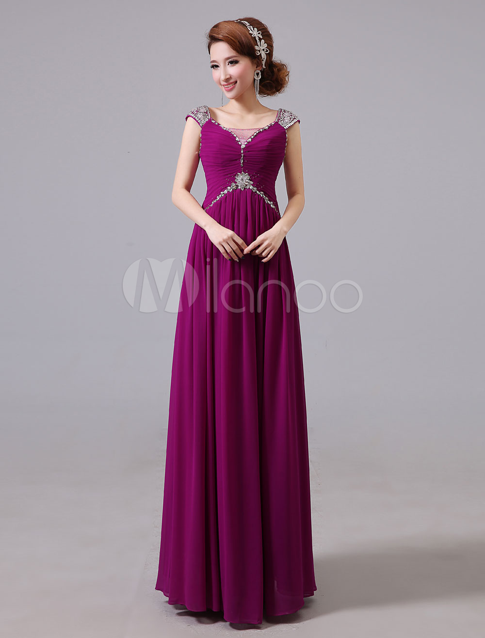 Buy Evening Dresses Formal Chiffon Long Prom Dress Beading Ruched Floor Length Special Occasion Dress for $87.99 in Milanoo store