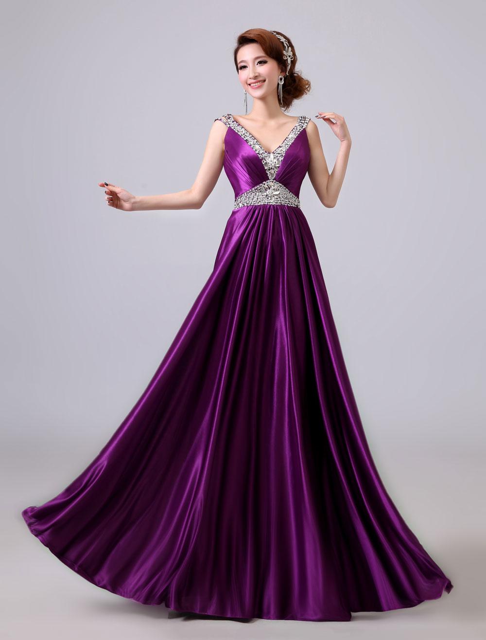 Buy Lavender Prom Dresses Long Beaded V Neck Backless Sash Floor Length Formal Evening Dress for $74.79 in Milanoo store