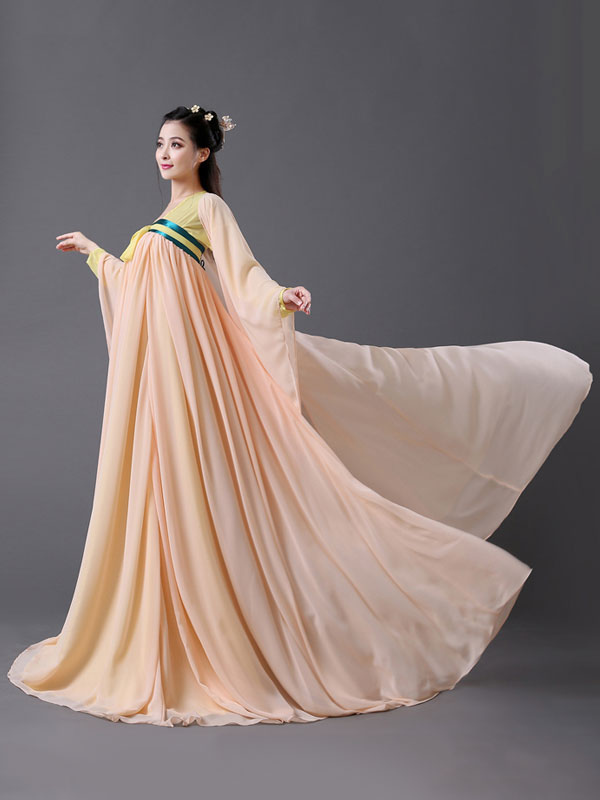6e3a2eb65 ... Traditional Chinese Costume Female Peach Chiffon Women Hanfu Dress  Ancient Tang Dynasty Clothing 2 Pieces-