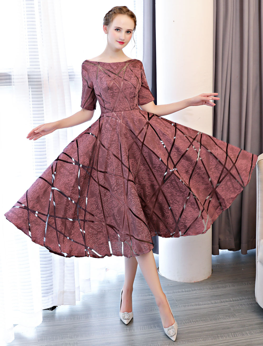 Short Prom Dresses Cameo Pink Half Sleeve Tea Length Cocktail Party Dresses