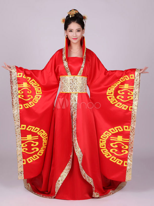 004c96ac6 Chinese Traditional Costume Female Red Satin Women Hanfu Dress Ancient Tang  Dynasty Clothing 3 Pieces- ...
