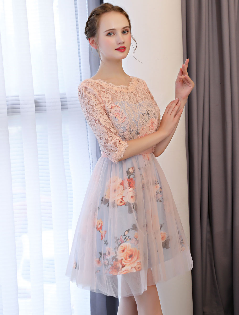 a043ce77726 Short Prom Dresses Soft Pink Floral Print Lace Half Sleeve Cute ...