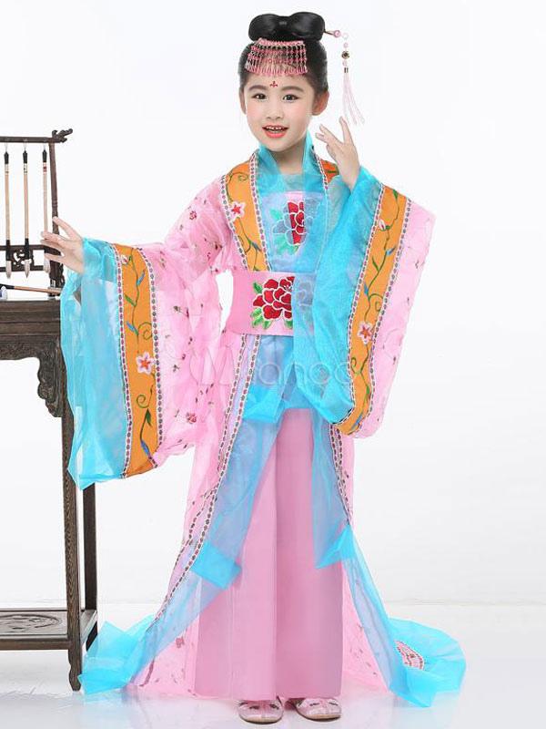 Traje tradicional chino de los niños Halloween Pink Tulle Chifón ...