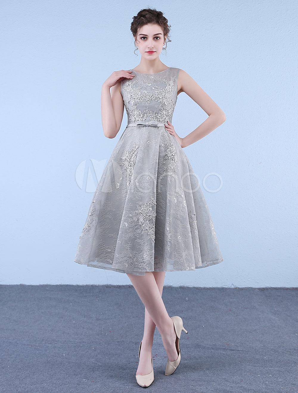Short Prom Dresses Light Grey Bow Sash Lace Applique A Line Tea Length Cocktail Party Dress
