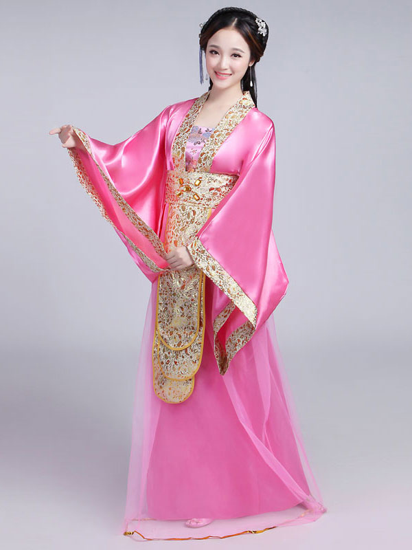 Traje chino tradicional mujer Satén rojo mujeres Hanfu vestido ...