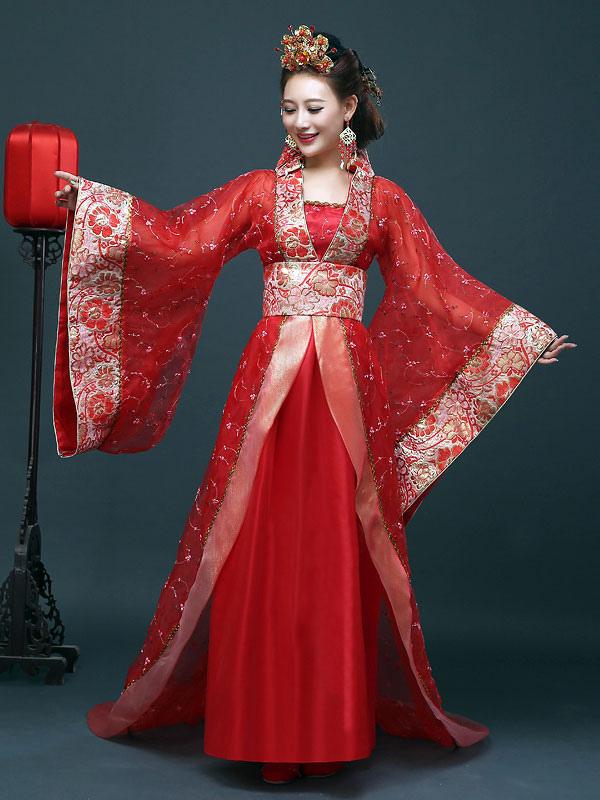 procédés de teinture minutieux grande variété de styles grand choix de Costume traditionnel chinois femelle Hanfu rouge robe femmes vêtements de  la dynastie Tang 3 pièces