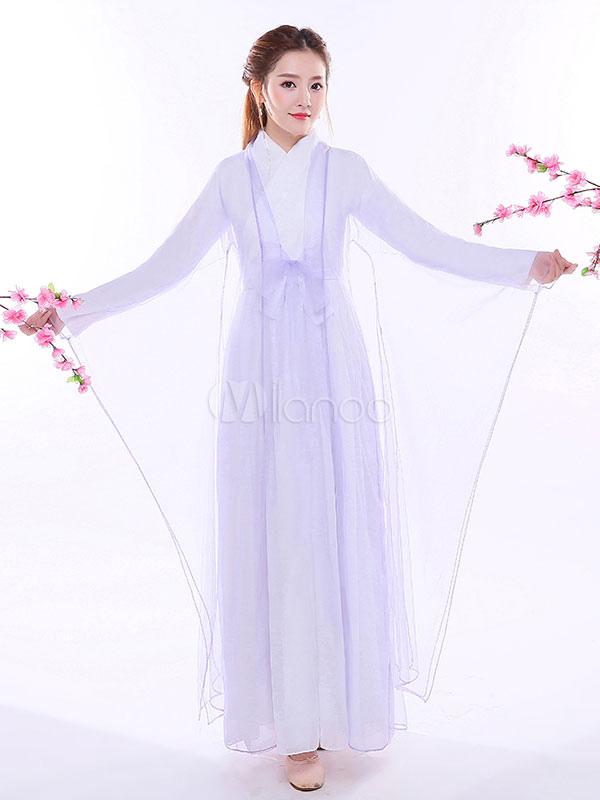 a69c770401c ... Costume traditionnel chinois femelle lilas en mousseline de soie femmes Hanfu  robe ancienne dynastie Tang vêtements ...