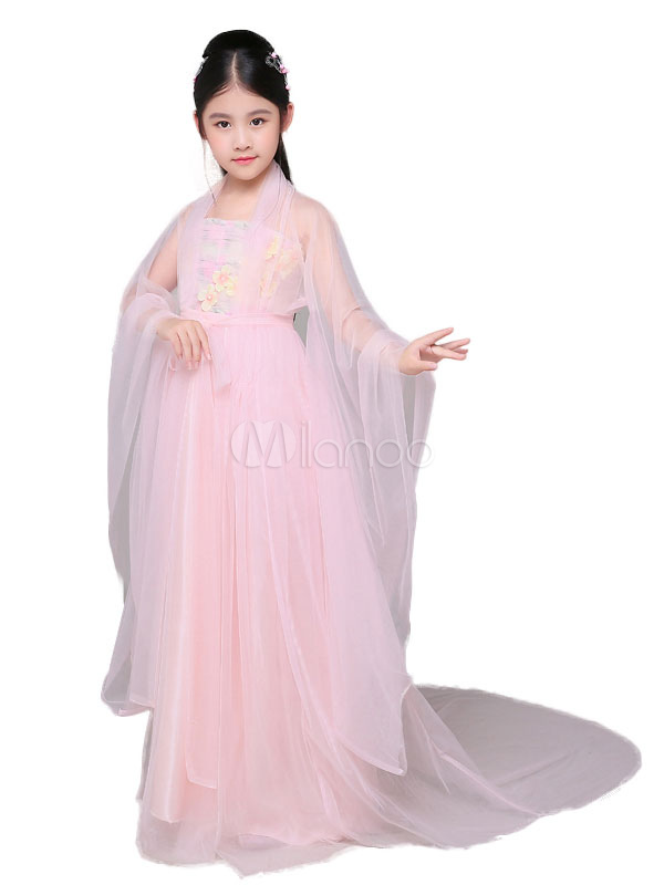 Traje tradicional chino niños Halloween rosa suave Tulle Hanfu ...