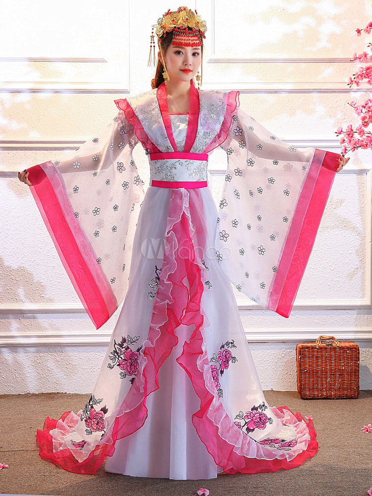 2efe99b36 Chinese Traditional Costume Female White Tulle Flowers Women Hanfu Dress  Ancient Tang Dynasty Clothing 3 Pieces ...