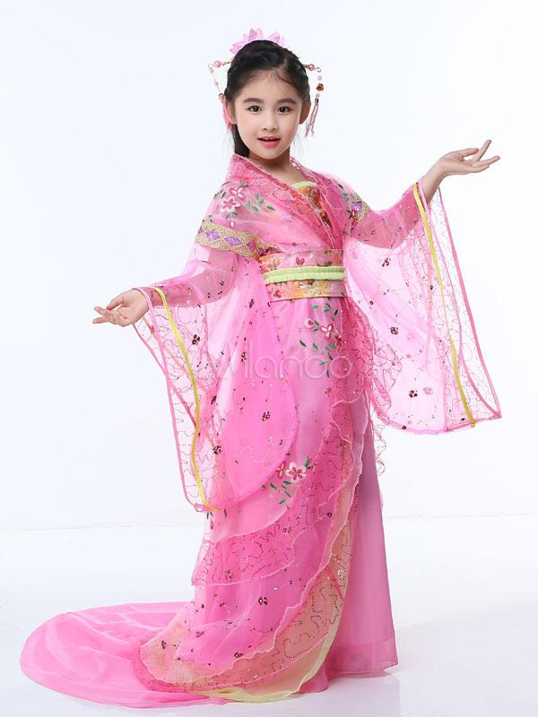 Traje tradicional chino Halloween Pink Kids Dinastía Tang Vestido ...