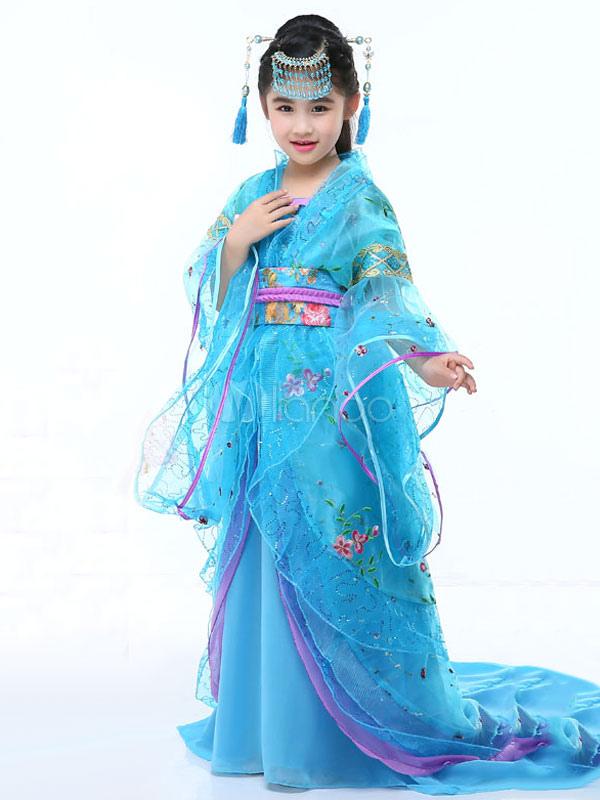 Costume tradizionale cinese per bambini Halloween Tulle blu Hanfu vestito  per bambine Tang Dynasty Abbigliamento- ... d3a2c74c5e4b