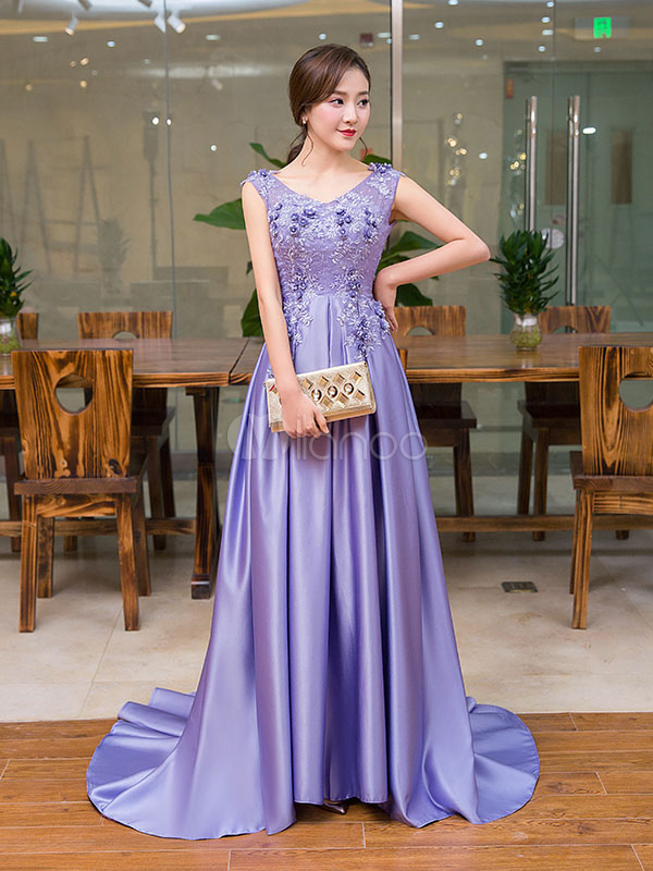 Buy Evening Dresses Long Violet Satin Lace V Neck Prom Gown Applique Beaded Backless Formal Dresses With Train for $149.59 in Milanoo store